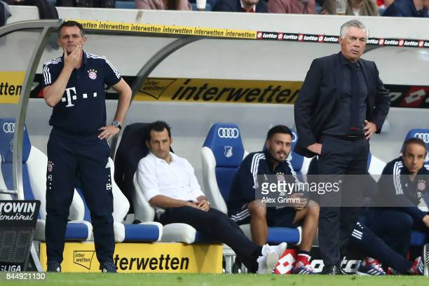 Willy Sagnol sporting director Hasan Salihamidzic of Bayern Muenchen and coach Carlo Ancelotti of Bayern Muenchen during the Bundesliga match between...