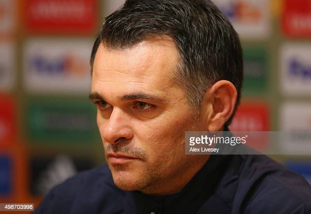 Willy Sagnol the coach of FC Girondins de Bordeaux faces the media during a press conference at Anfield on November 25 2015 in Liverpool United...