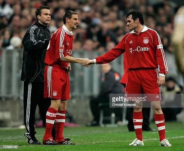 Willy Sagnol welcomes Sebastian Deisler after his long injury back in the team during the Bundesliga match bewteen Bayern Munich and VFB Stuttgart at...