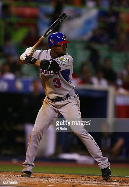 Willy Taveras of The Dominican Republic bats against The Netherlands during the 2009 World Baseball Classic Pool D match on March 10 2009 at Hiram...