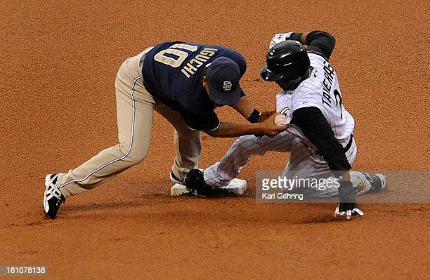 ROCKIES_MARLINS Willy Taveras stole second base in the first inning Friday night despite the tage by San Diego infielder Tadahito Iguchi The umpire...