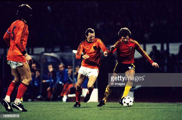 Willy van de Kerkhof of The Netherlands Walter Meeuws of Belgium during the World Cup Qualifying Match between Belgium and The Netherlands at the...