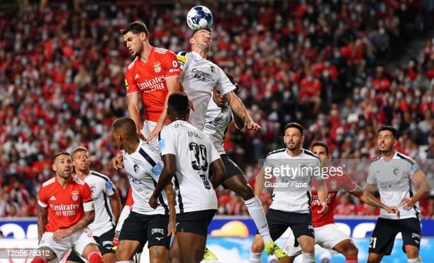 Willyan Rocha of Portimonense SC with Roman Yaremchuk of SL Benfica in action during the Liga Bwin match between SL Benfica and Portimonense SC at...
