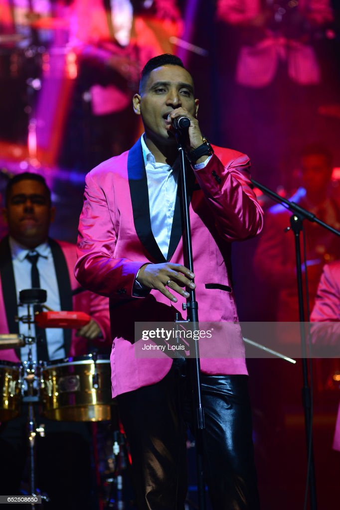 Willys del Arka of Orquesta Guayacan performs onstage during Viva La Salsa concert at James L. Knight Center on March 11, 2017 in Miami, Florida.