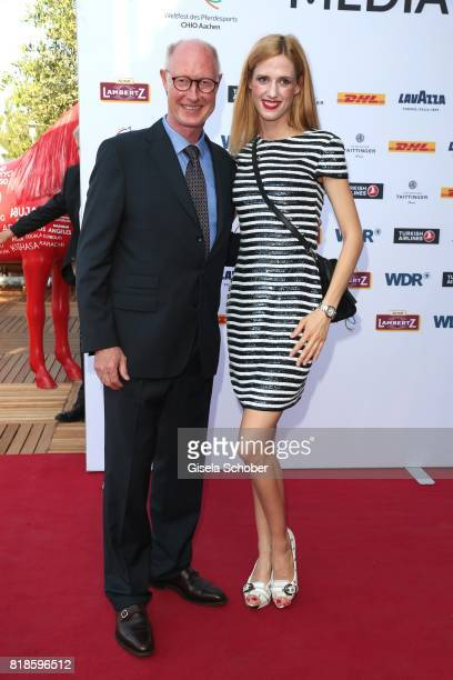 Wilma Elles and her father Dr Stephan Elles during the media night of the CHIO 2017 on July 18 2017 in Aachen Germany