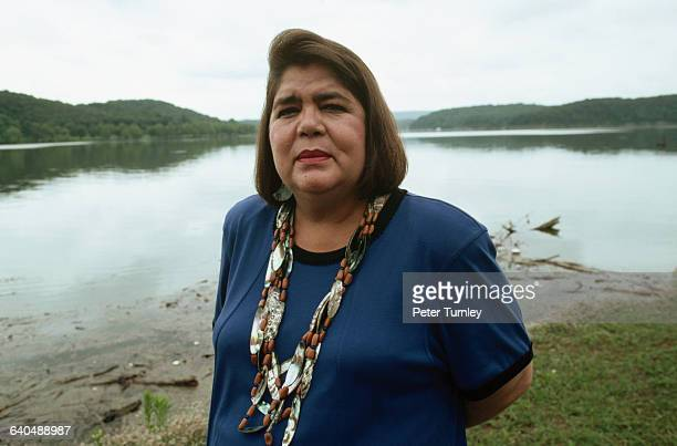 Wilma Mankiller, principal chief of the Cherokee Nation, poses beside a lake. Mankiller was the first female principal chief in the history of the...