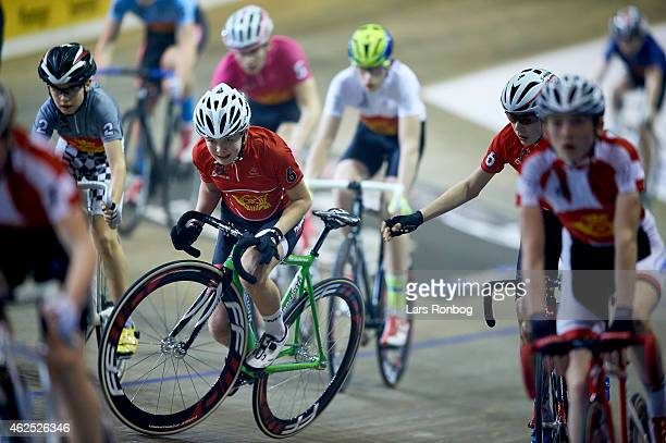 Wilma Olausson of Sweden crashes in the Mini Six Days during the Copenhagen Six Days Cycling Race at Ballerup Super Arena on January 30 2015 in...