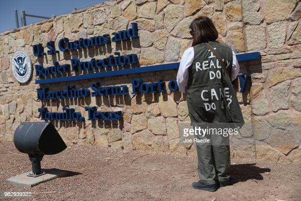 Wilma Santos wears a vest that reads 'I really do care Do U' a reference to a jacket first lady Melania Trump wore in a surprise visit to the border...