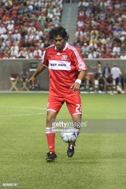 Wilman Conde of Chicago Fire juggles the ball during the game against the Real Salt Lake at Rio Tinto Stadium on September 12 2009 in Sandy Utah
