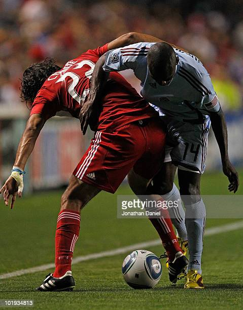 Wilman Conde of the Chicago Fire and Omar Cummings of the Colorado Rapids battle for the ball along the touchline in an MLS match on June 5 2010 at...