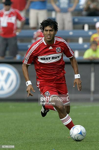 Wilman Conde of the Chicago Fire brings the ball up the field against FC Dallas during the first half at Toyota Park on September 21 2008 in...