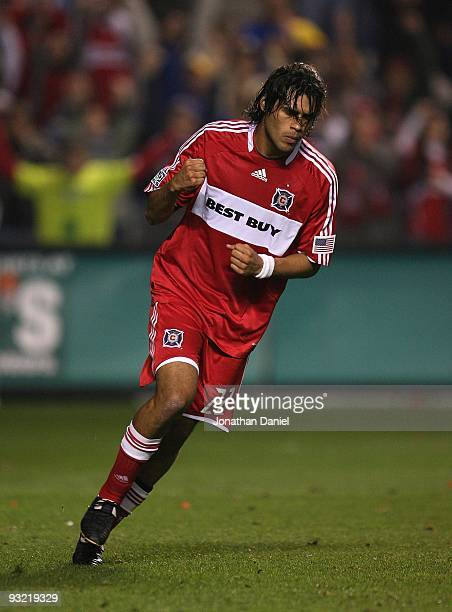 Wilman Conde of the Chicago Fire celebrates scoring a shootout goal against Real Salt Lake during the MLS Eastern Conference Championship at Toyota...