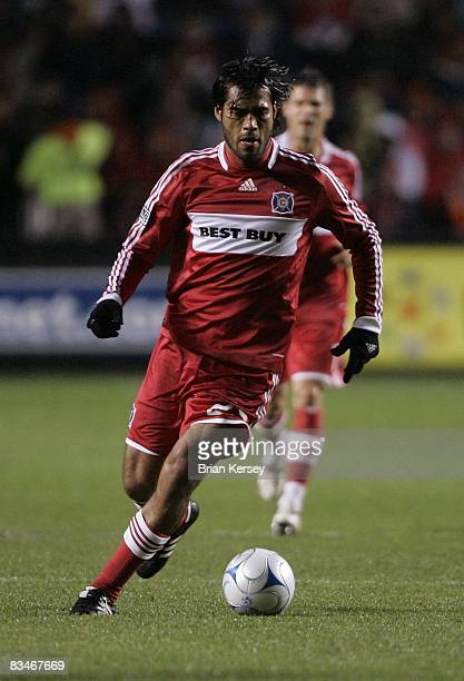 Wilman Conde of the Chicago Fire moves the ball against the New York Red Bulls during the second half at Toyota Park on October 23, 2008 in...