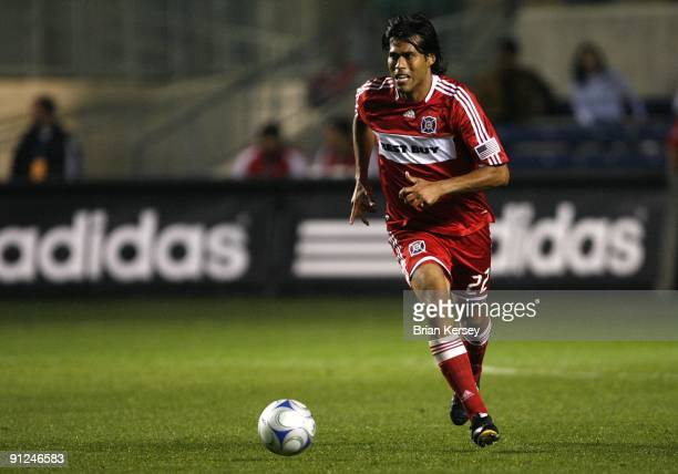 Wilman Conde of the Chicago Fire moves the ball against Toronto FC during the second half at Toyota Park on September 26, 2009 in Bridgeview,...