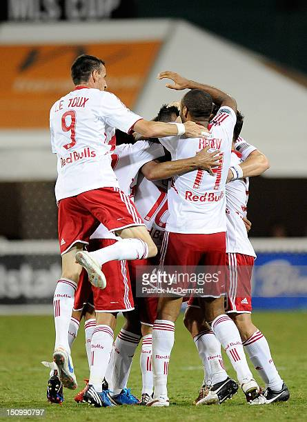 Wilman Conde of the New York Red Bulls celebrates after scoring a goal against DC United during a game at RFK Stadium on August 29 2012 in Washington...