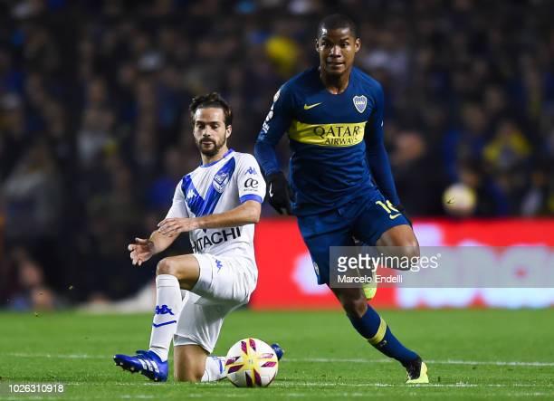 Wilmar Barrios of Boca Juniors drives the ball during a match between Boca Juniors and Velez as part of Superliga Argentina 2018/19 at Estadio...