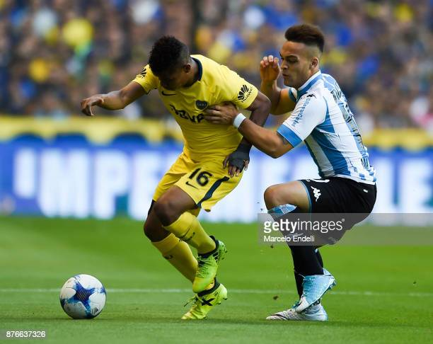 Wilmar Barrios of Boca Juniors fights for the ball with Lautaro Martinez of Racing Club during a match between Boca Juniors and Racing Club as part...