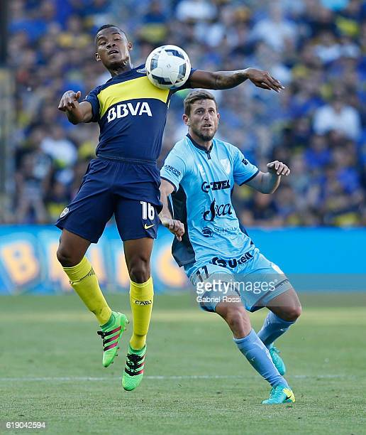 Wilmar Barrios of Boca Juniors fights for the ball with Leonardo Di Lorenzo of Temperley during a match between Boca Juniors and Temperley as part of...