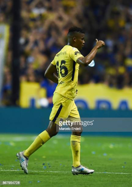 Wilmar Barrios of Boca Juniors greets fans after being replaced during a match between Boca Juniors and Belgrano as part of Superliga 2017/18 at...