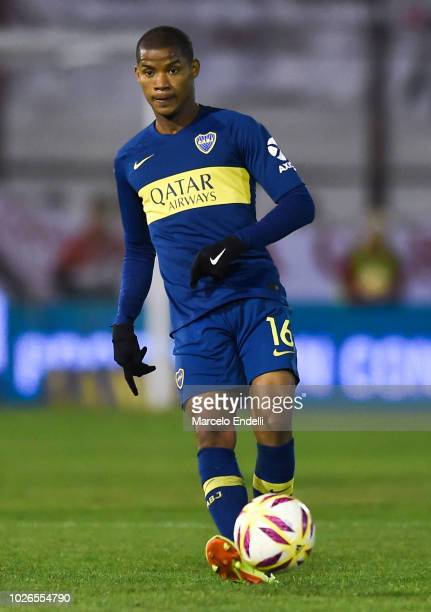 Wilmar Barrios of Boca Juniors kicks the ball during a match between Huracan and Boca Juniors as part of Superliga Argentina 2018/19 at Estadio Tomas...