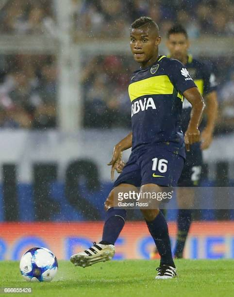 Wilmar Barrios of Boca Juniors kicks the ball during a match between Velez Sarsfield and Boca Juniors as part of Torneo Primera Division 2016/17 at...