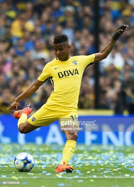 Wilmar Barrios of Boca Juniors kicks the ball during a match between Boca Juniors and Belgrano as part of Superliga 2017/18 at Alberto J Armando...