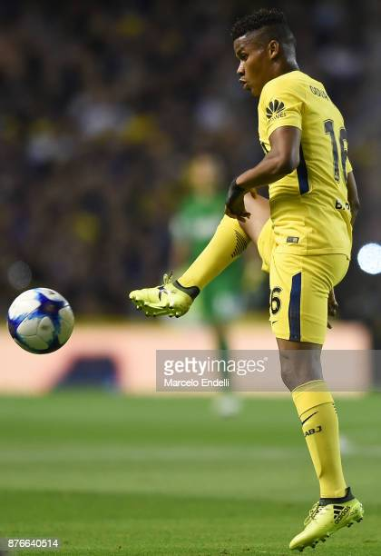 Wilmar Barrios of Boca Juniors kicks the ball during a match between Boca Juniors and Racing Club as part of the Superliga 2017/18 at Alberto J...