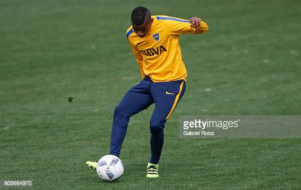 Wilmar Barrios of Boca Juniors kicks the ball during Boca Juniors training session at Luis Conde Stadium on September 14 2016 in Buenos Aires...