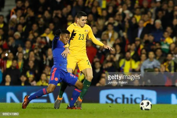 Wilmar Barrios of Colombia and Tom Rogic of Australia during the International friendly match between Colombia and Australia at Craven Cottage on...