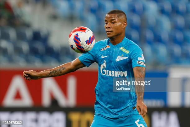 Wilmar Barrios of Zenit in action during the Russian Premier League match between FC Zenit Saint Petersburg and FC Sochi on October 3, 2021 at...