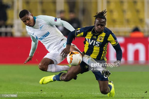Wilmar Barrios of Zenit St Petersburg Victor Moses of Fenerbahce SK during the UEFA Europa League round of 32 match between Fenerbahce AS and FK...