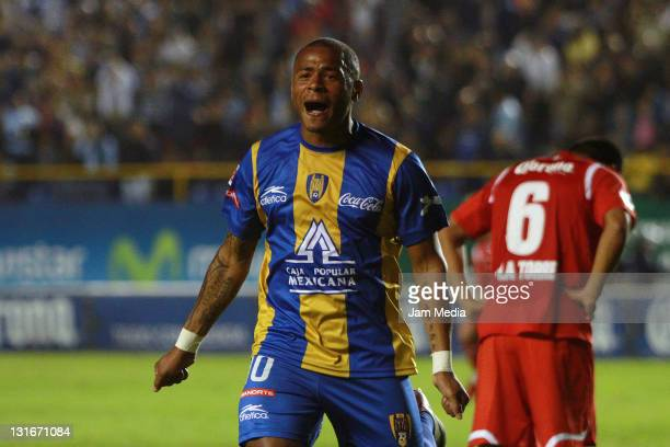 Wilmer Aguirre of San Luis celebrates a scoed goal during a match as part of the Apertura 2011 at Alfonso Latras Stadium on November 5, 2011 in San...