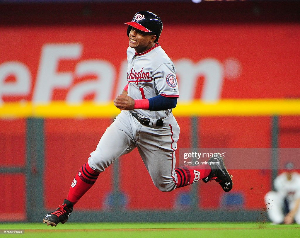 Wilmer Difo #1 of the Washington Nationals advances to third base on an eighth-inning single by (Bryce Harper) not pictured against the Atlanta Braves at SunTrust Park on April 20, 2017 in Atlanta, Georgia.