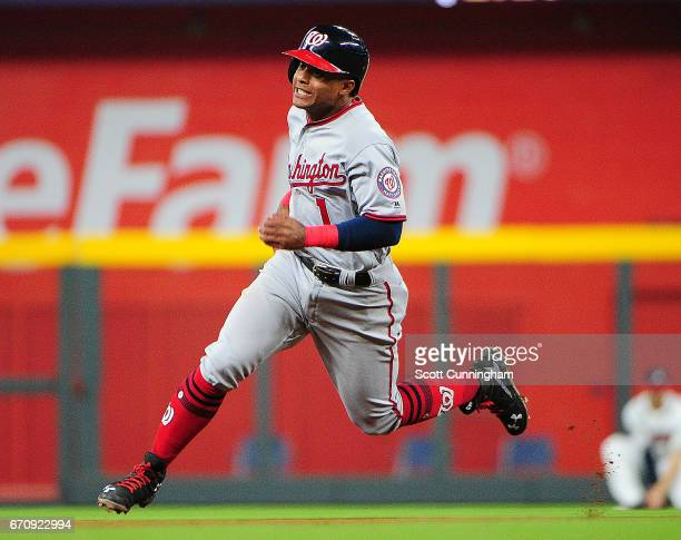 Wilmer Difo of the Washington Nationals advances to third base on an eighthinning single by not pictured against the Atlanta Braves at SunTrust Park...