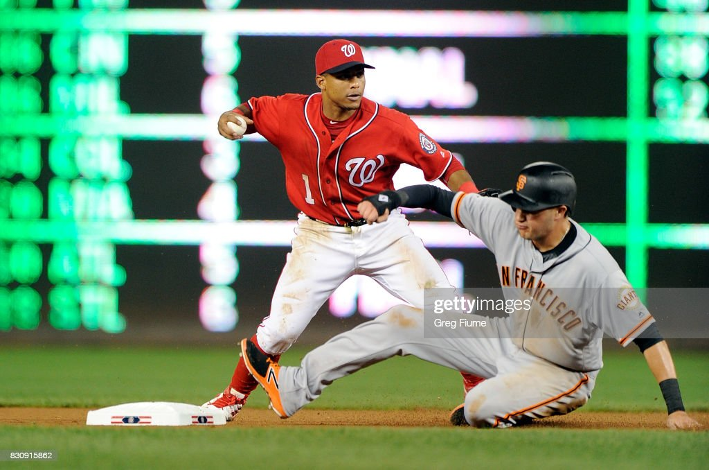Wilmer Difo #1 of the Washington Nationals forces out Ryder Jones #63 of the San Francisco Giants at second base in the seventh inning at Nationals Park on August 12, 2017 in Washington, DC.