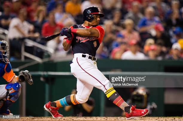 Wilmer Difo of the Washington Nationals hits a single in the fourth inning against the New York Mets during Game Two of a doubleheader at Nationals...