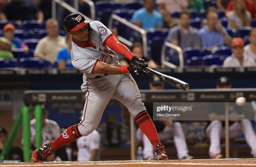 Wilmer Difo #1 of the Washington Nationals hits during a game against the Miami Marlins at Marlins Park on August 1, 2017 in Miami, Florida.