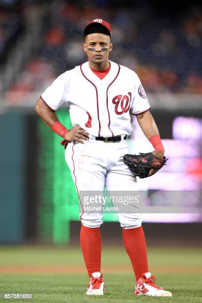 Wilmer Difo of the Washington Nationals looks on during a baseball game against the Pittsburgh Pirates at Nationals Park on September 28 2017 in...