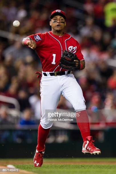 Wilmer Difo of the Washington Nationals makes a throw in the fifth inning against the Pittsburgh Pirates at Nationals Park on September 30 2017 in...