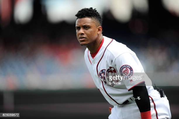 Wilmer Difo of the Washington Nationals plays against the Milwaukee Brewers at Nationals Park on July 27 2017 in Washington DC