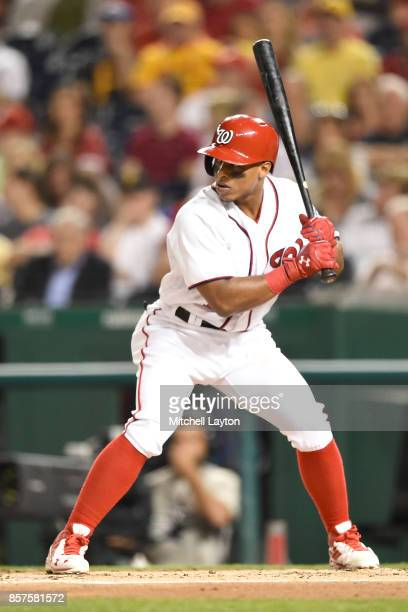Wilmer Difo of the Washington Nationals prepares for a pitch during a baseball game against the Pittsburgh Pirates at Nationals Park on September 28...