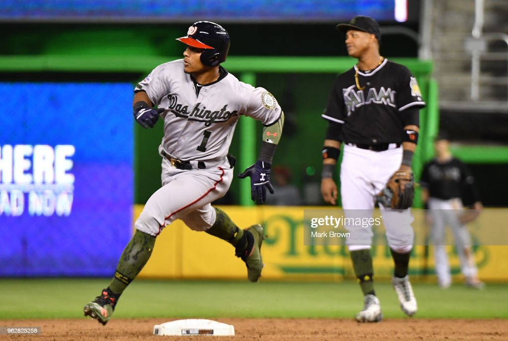 Wilmer Difo #1 of the Washington Nationals runs the bases after hitting a homerun to tie the game during the eighth inning against the Miami Marlins at Marlins Park on May 26, 2018 in Miami, Florida.