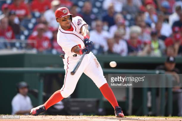 Wilmer Difo of the Washington Nationals takes a swing during a baseball game against the Miami Marlins at Nationals Park on August 30 2017 in...