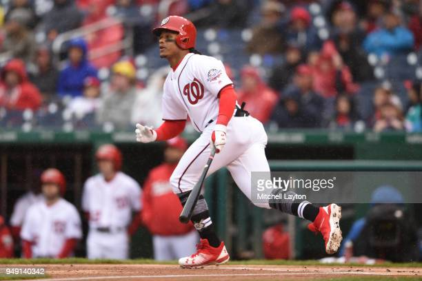 Wilmer Difo of the Washington Nationals takes a swing during a baseball game against the Colorado Rockies at Nationals Park on April 15 2018 in...