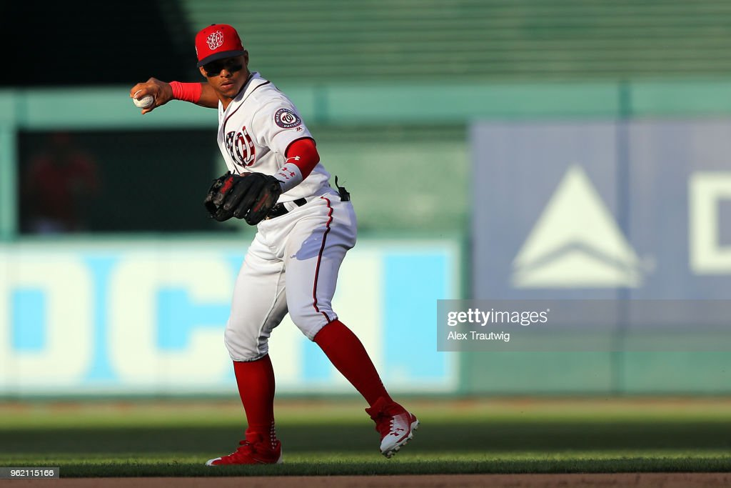 Wilmer Difo #1 of the Washington Nationals throws to first during a game against the San Diego Padres at Nationals Park on Wednesday, May 23, 2018 in Washington, D.C.