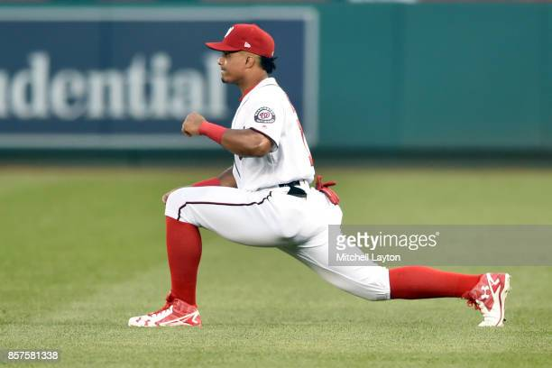 Wilmer Difo of the Washington Nationals warms up before a baseball game against the Pittsburgh Pirates at Nationals Park on September 28 2017 in...