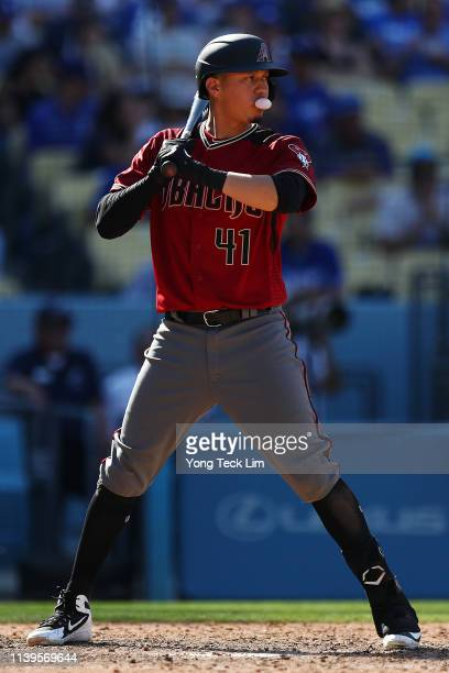 Wilmer Flores of the Arizona Diamondbacks prepares to bat against the Los Angeles Dodgers during the seventh inning at Dodger Stadium on March 31...