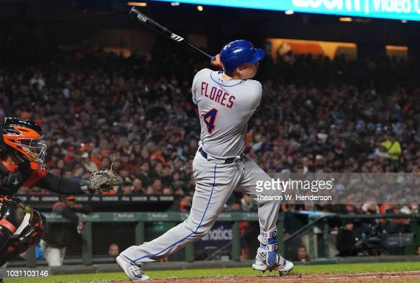 Wilmer Flores of the New York Mets bats against the San Francisco Giants in the top of the seventh inning at ATT Park on August 31 2018 in San...