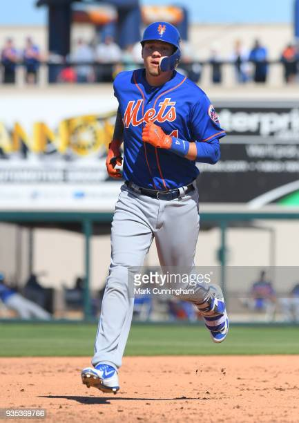 Wilmer Flores of the New York Mets runs the bases during the Spring Training game against the Detroit Tigers at Publix Field at Joker Marchant...