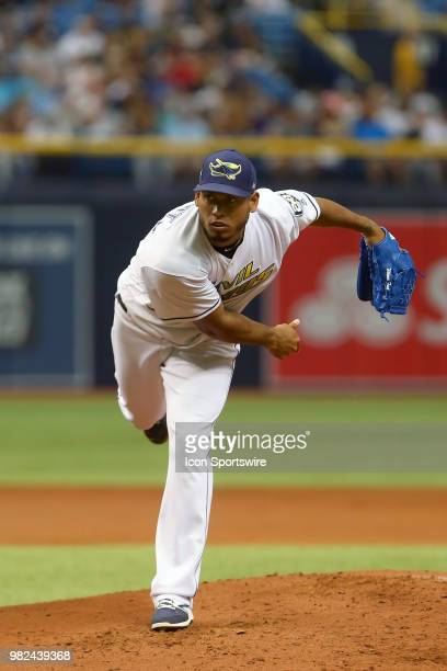 Wilmer Font of the Rays delivers a pitch to the plate during the MLB regular season game between the New York Yankees and the Tampa Bay Rays on June...